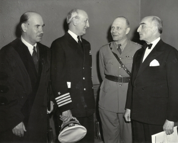 1943, May 24. AA. New York, New York. TEN AWARDED COPERNICAN CITATIONS. Here, at the meeting, are (left to right): Igor Sikorsky, noted airplane designer, who received a citation; Capt. Frederick Hellenweg, Director of the U.S. Naval Observatory, Washington, D.C.; Col. Wladislaw Onaciewicz, Military Attache at the Polish Embassy, Washington, D.C.; and Jan Ciechanowski, Polish Ambassador to the United States. ACMA Photo (Front)