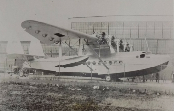 1934, February 14. AA. Stratford, Connecticut. LARGEST PLANE DESIGNED FOR TRANS-OCEANIC FLIGHTS. Here is America's largest plane and first air transport designed for passenger and mail flights over the ocean. Sikorsky Aviation Company Plant in Stratford, Conn. The huge flighing boat, known as the S-42, has room for 32 passengers, a crew of five, and a half-ton of mail on a 2,500-mile flight. ACME Photo (Front)