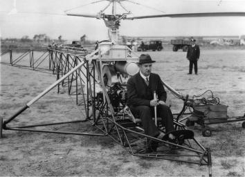 1939, September 14. CA. Stratford, Connecticut. Igor Sikorsky in the cockpit of the VS-300, preparing for the first helicopter flight in the world's history.